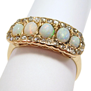 Victorian Opals Rose Cut Diamonds Ring 1880 Beautiful