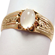 Victorian Rose Gold Moonstone Ring 1880'S