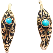 Georgian Rose Gold Enamel Turquoise Snake Earrings