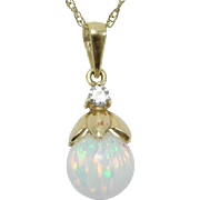 14K Diamond & Opal Globe Pendant On 14K Chain Pretty