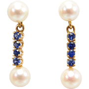 14K Estate Cultured Pearl And Natural Sapphire Earrings