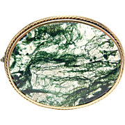 Victorian 10K Large Moss Agate Brooch 1880'S