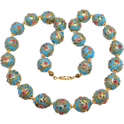 Beautiful Strand Robin'S Egg Blue Wedding Cake Venetian Beads Necklace