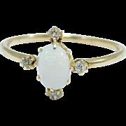 14K Rose Gold Opal & Rose Cut Diamonds Ring Victorian