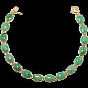 Pretty Estate 14K Natural Jade Oval Cabochons Bracelet