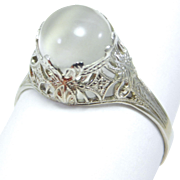 Edwardian Filigree 10K Moonstone Ring Circa 1915
