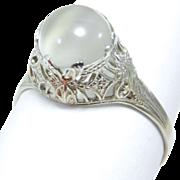 Edwardian Filigree 10K Moonstone Ring Circa 1915