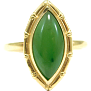 10K Spinach Jade Marquis Estate Ring Bamboo Bezel