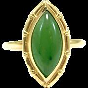 10K Spinach Jade Marquis Estate Ring Bamboo Bezel
