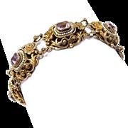 Austro Hungarian Amethyst Seed Pearls Ornate Silver Bracelet