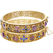 Gorgeous Matched Pair Chinese Amethyst Cloisonne Filigree Bangle Bracelets
