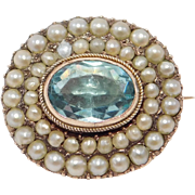 Georgian 1840'S Seed Pearl And Paste Brooch Rose Gold