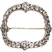 Georgian Foil Backed Paste Large Brooch 1840 Silver