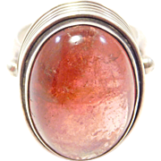 Modernist Sterling & Pink Tourmaline Cabochon Ring
