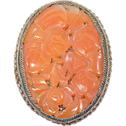 Early Chinese Silver Filigree And Carved Carnelian Brooch