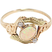 Victorian Opal & Seed Pearl Multicolor Gold Ring Lovely
