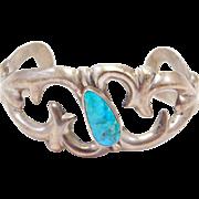 Navajo Sandcast Sterling & Turquoise Cuff Bracelet FJ