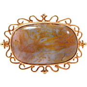 Antique Moss Agate 14K Brooch Beautiful Stone