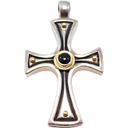 Konstantino 750 18K And Silver & Onyx Designer Cross
