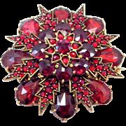 Victorian Rose Cut Bohemian Garnets Cluster Brooch