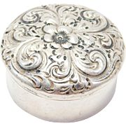 Victorian Shreve & Co. Sterling Pill Box Repousse