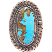 Beautiful Navajo Silver Pilot Mountain Turquoise Ring