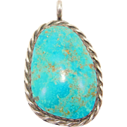Beautiful Large Fox Turquoise Silver Southwest Pendant