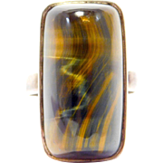 Modernist Sterling Designer Signed Tiger Eye Ring