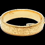 9ct Gold Engraved Bangle Bracelet Metal Core