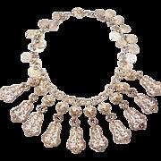 Ornate Ethnic 800 Silver Filigree Dangles Collar Necklace