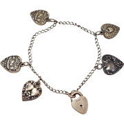 5 Puffy Heart Victorian Charms On Padlock Bracelet
