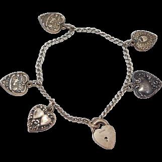 5 Puffy Heart Victorian Charms On Padlock Bracelet