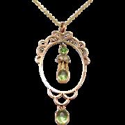 9ct Peridot & Seed Pearls Elegant Lavalier Necklace