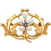 10K Victorian Sapphire & Natural Pearls Watch Pin