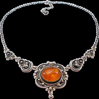 Elegant Natural Amber 835 Silver Floral Necklace