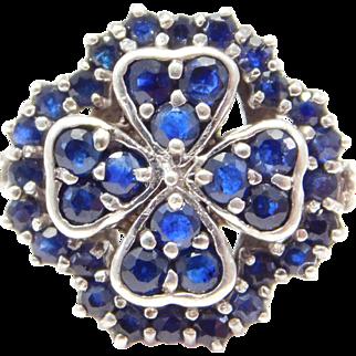 Sterling Natural Sapphires 4 Leaf Clover Ring