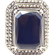 Art Deco Marcasite 935 Banded Agate Ring Wow