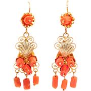 Antique Ornate Gold Coral Filigree Earrings