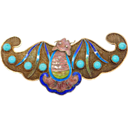 Awesome Turquoise Cloisonne Chinese Filigree Bat Pin