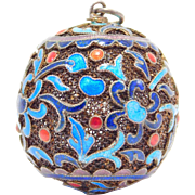 Old Chinese Silver Filigree Cloisonne Orb Pendant