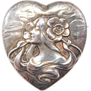 Unger Brothers Art Nouveau Lady Heart Locket Brooch Sterling