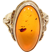 Sterling Vermeil Baltic Amber Ring With Ornate Setting