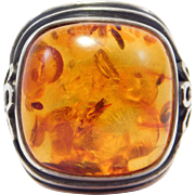 Large Sterling Baltic Amber Ring Cushion Shape Unique