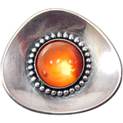 Modernist 935 Silver And Baltic Amber Brooch Pretty