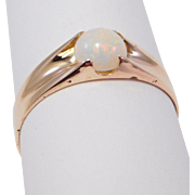 Victorian Opal Ring 14K Rose Gold Gypsy Setting