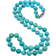 Gorgeous 9mm Antique Chinese Turquoise Beads Necklace