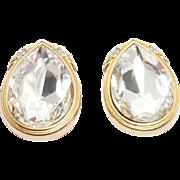 Vintage Striking Swarovski Crystal Teardrop Earrings