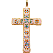 Huge Italian Micro Mosaic Cross Necklace Pendant