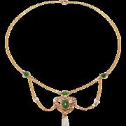 Art Nouveau 10K Jade & Seed Pearl Festoon Necklace 1900
