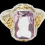Edwardian 14K Multicolor Filigree & Amethyst Ring